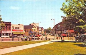 Taunton MA H. L. Green Street View Storefronts Old Cars Postcard