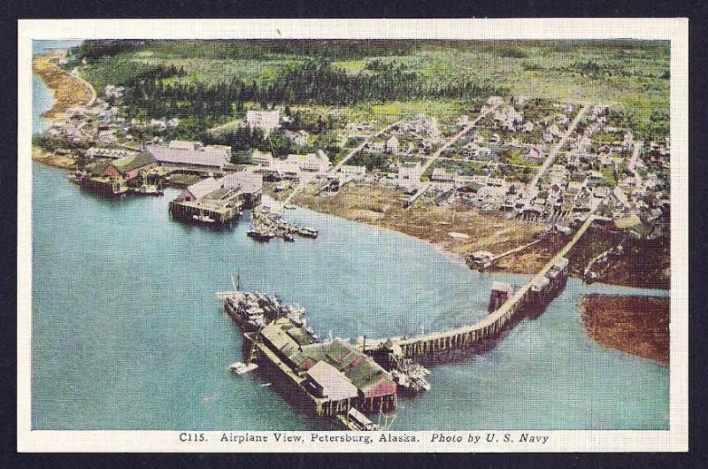 Air View Harbor @ Petersburg Alaska unused c1930's