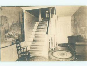 rppc Pre-1930 Furniture ANTIQUE CHAIR AND COUCH BY THE STAIRS AC7782