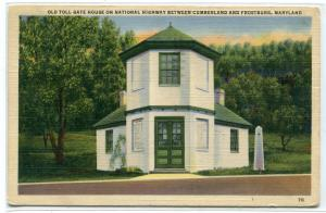Old Toll Gate House National Highway Cumberland Frostburg Maryland 1942 postcard