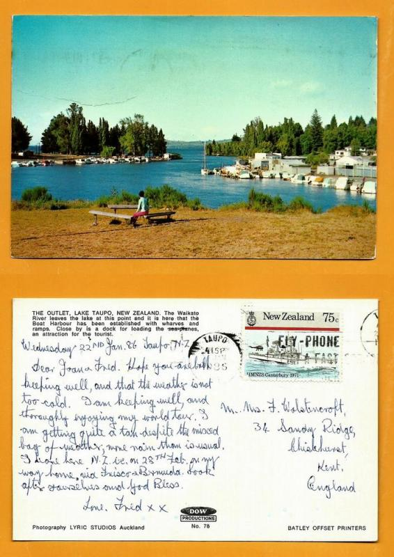 NEW ZEALAND POSTCARD-STAMP-LAKE TAURO