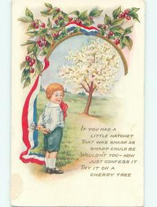 Pre-Linen patriotic BOY WITH AXE BY THE CHERRY TREE & USA FLAG RIBBON HJ4640