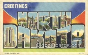 North Dakota USA Large Letter Town Vintage Postcard Old Post Card Antique Pos...