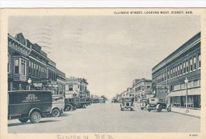 Nebraska Sidney Illinois Street Looking West 1941 Curteich