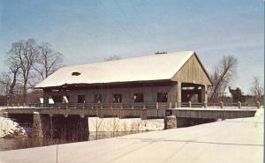 Winter at East Pepperell Covered Bridge - Pepperell MA, Massachusetts