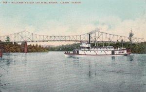 ALBANY, Oregon, 1900-1910's; Willamette River And Steel Bridge, Ship