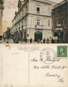 LIMA PERU PLAZUELA DE LA MERCED CASA FORERO 1909 ANTIQUE POSTCARD