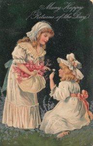 GREETINGS, PU-1908; Girls wearing bonnets gathering flowers, PFB 7046