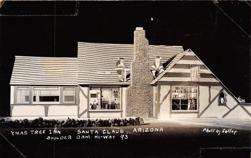 D32/ Santa Claus Arizona Az Real Photo RPPC Postcard c40s Kingman Xmas Tree Inn