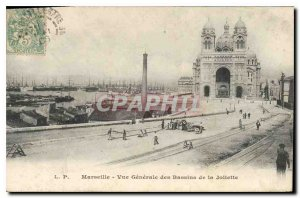 Old Postcard Marseille Vue Generale of the Joliette Basins