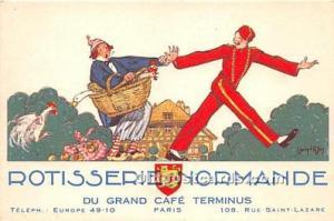 Advertising Postcard - Old Vintage Antique Du Grand Café Terminus Paris Roti...