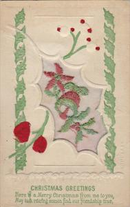 Christmas Greetings With Embroidered Flowers and Red Roses