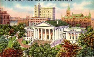 Virginia Richmond State Capitol Square Showing Capitol and City Hall