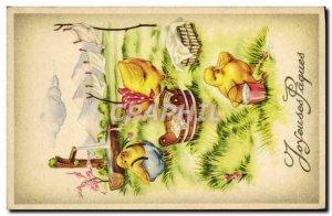 Old Postcard Fantasy Easter Chicks