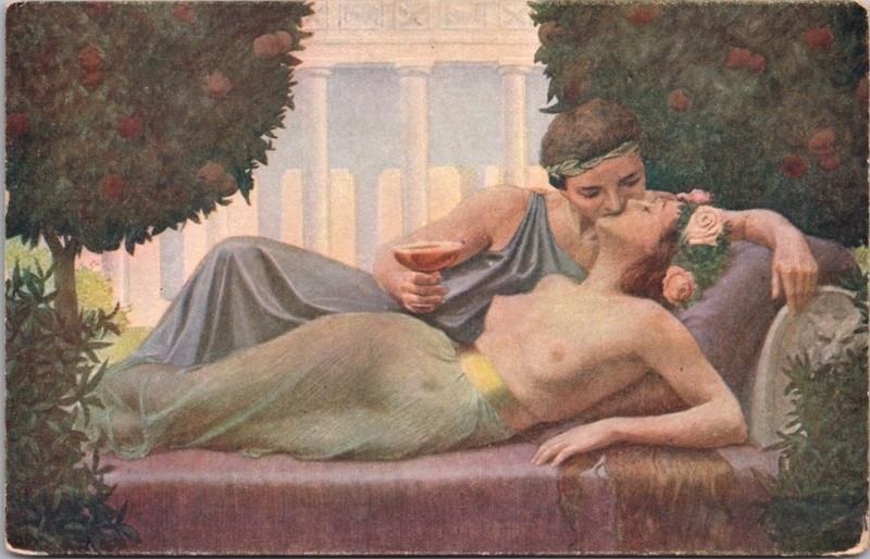 Philtre Napoj Milosny Naked Nude Woman Man Kissing Garden Postcard D40
