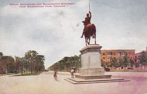 Illinois Chicago Grand Boulevard and Washington Monument From Washington Park...
