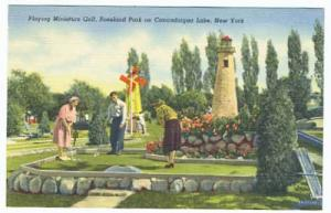 Canandaigua Lake NY Miniature Golf Light House Linen Postcard