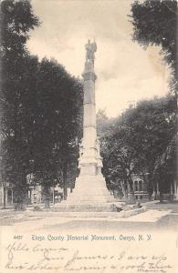 Owego New York~Tioga County Civil War Soldiers Monument~Houses Behind~1906 PC