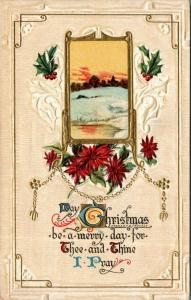 Christmas Calligraphy~Sunset Winter Portal~Poinsettias~Merry Day I Pray~Embossed