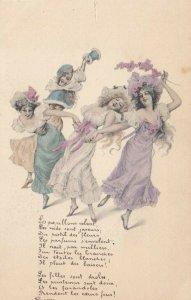 M.M.VIENNE Nr. 92 , 1901-07, 4 dancing girls