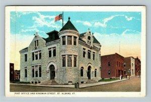 St Albans VT-Vermont, Post Office, Kingman Street, Vintage c1924 Postcard