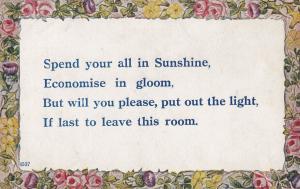 Gloomy Economy Economics Turn The Light Off Proverb Postcard