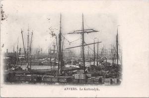 Anvers Le Kattendyk Antwerp Belgium Boats Shipping c1902 Antique Postcard E18