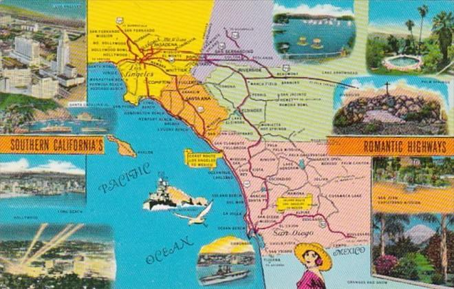 Map Of Southern California's Romantic Highways / HipPostcard