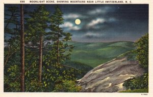 Moonlight Scene,Showing Mountains Near Little Switzerland,NC