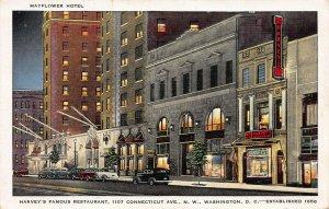 Harvey's Restaurant, Mayflower Hotel, Washington, D.C., Early Postcard, Unused