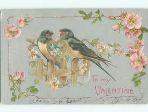 Pre-Linen valentine BEAUTIFUL BLUE BIRDS HOLDING GOLDEN HEART TOGETHER k5774