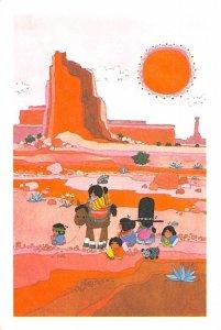 Family in the desert Cartoon Indian Unused