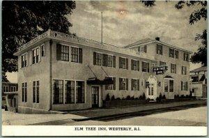 Westerly, Rhode Island Postcard ELM TREE INN Hotel / Street View Rte 1 Roadside