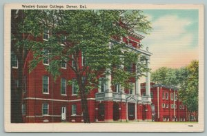 Dover Delaware~Wesley Junior College Building~Vintage Postcard