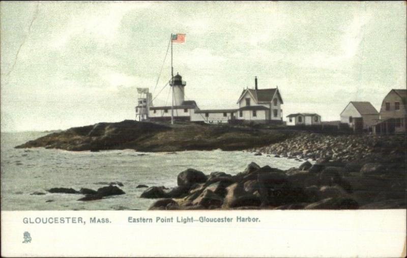 Gloucester MA Eastern Point Lighthouse c1910 Postcard - Version #19 TUCK