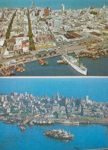Montevideo Uruguay Harbour 1980s Aerial Birds Eye & Port 2x Postcard