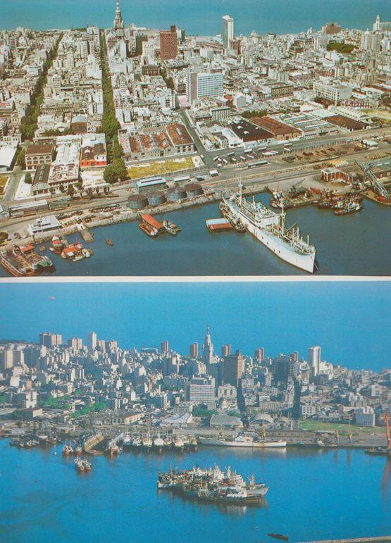 Montevideo Uruguay Harbour 1980s Aerial Birds Eye & Port 2x Postcard