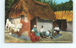 Resting After A Day's Work on Banana Field Greetings From Jamaica Vtg Postcard