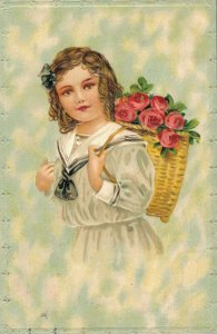 Beautiful girl with a flower basket 03.01