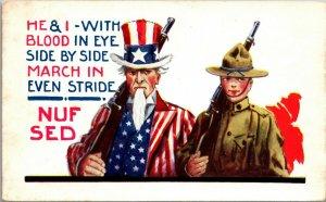 US Army World War 1 Patriotic Uncle Sam NUF SAID 1920 Military A/S Wahl POSTCARD