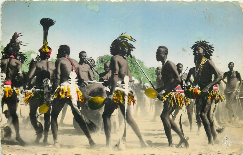 Central Africa Chad Daba region cotton harvest dance ethnic natives dancers rppc