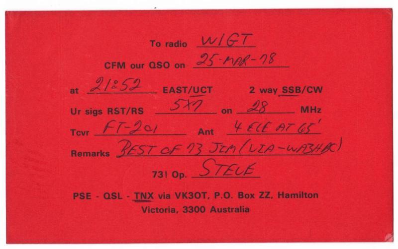 QSL, VK3OT, Hamilton, Victoria, Australia, 1978
