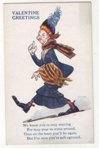 P291 JLs old postcard comic valentine greeting old lady
