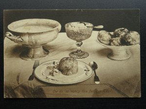 Possible Devonshire Cream Tea? OW DO EE VANCY THIS FUR YUR TAY? c1914 Postcard