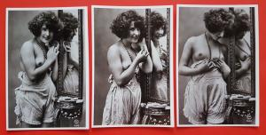 Set of 3 NEW Vintage 1920's French Repro Postcards, Risque, Nude, Erotic 36C