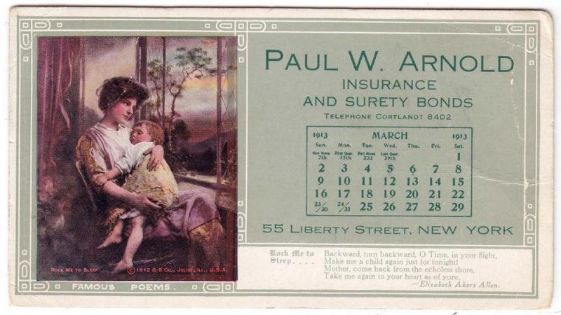 Paul W. Arnold Insurance, NY / Month of March 1913
