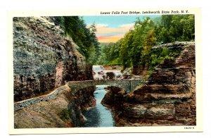 NY - Letchworth State Park, Lower Falls Footbridge
