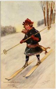 Signed Child Studies Skiing Postcard