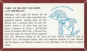 MICHIGAN, 1940-60s; Fact Card, No. 20 of 200, Take an Island  Vacation - In M...