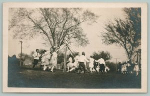 Real Photo Postcard~School Children Dance Around Maypoles~c1920 RPPC